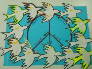 A flock of doves! Getting to know other children, by means of English!!