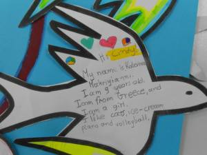 Here's a third graders' introductory letter to our partners in Taiwan: Our Doves of Peace!