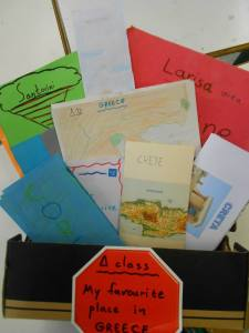 A 4th graders project: a tourist travel brochure, about their most favourite place in Greece! I found this old shoe box, the perfect container for these brochures! You can pick one and read...