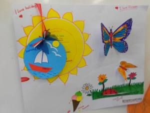 "The same project idea, can be adapted to different levels and ages...For this one,my 4rd graders first listened to Vivaldi "" Four seasons"" and were asked to brainstorm vocabulary which had to do with each season. Then , we talked about the topic in class, and they were asked to decide ,which their two most favourite seasons were....At home, they had to work on their posters and think and write reasons why they like their chosen seasons! During the next lesson, a poster presentation and whole class discussion followed ....."