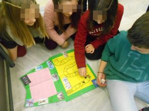 "The topic of this project was "" My country Greece"". Many teams prefered to present their work, by playing a board game with the whole class -instead of making a poster! This one is, a questions and multiple choice answers, board game! I motivate my students to use their imagination and creativity when they presend their projects!"