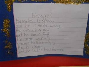 """ Hercules is strong and he's never wrong..."" Poetic inspiration through project work!"