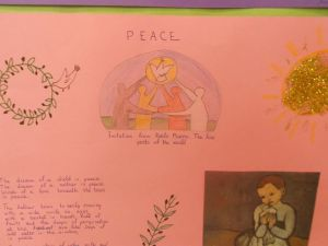 This project was based on a Pablo Picasso's painting! This was my students inspiration to write a poem on PEACE!