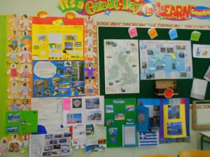 Another english notice board in class.Here, we pin our class projects! Students are proud to show their parents and friends their work!