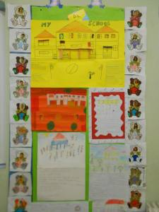 All projects are put up on each class projects notice board until a new project , takes their place and they are sent to our partners abroad!