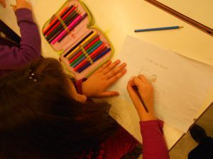 "In the photo, the students were asked to draw a picture of what they had been thinking about while they were listening to Mozart 40th Symphony, during the ""relaxation"" activity in the end...we used the follwing exercises: unfolding ears, lazy 8s,stabbing feet and lion's roar, crazy brain gym,picking fuit, crystal vase, box of nice things, the basketball game ( plus, my variation: the tennis game) , relaxation!"