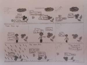Handwritten comics: imagination is very important.