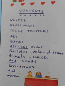 Contents vary...I give the students lots of ideas before they start writing.