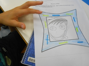 Rapport activity: make your partner's portrait the way you see him/her , add adjectives which you think describe their character and personality !