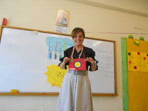 I used a handmade camera to talk to my students about my travels around Europe, speaking English-of course!