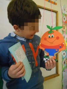 Orangito, the Spanish flat puppet in our class!