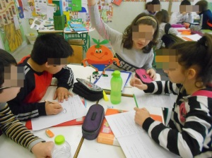 Students like to think that the flat puppets are..alive! They even  take them to their desks, to help them with group work!!